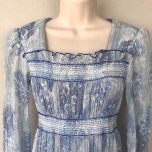 Blue floral vintage prairie gunne sax maxi dress